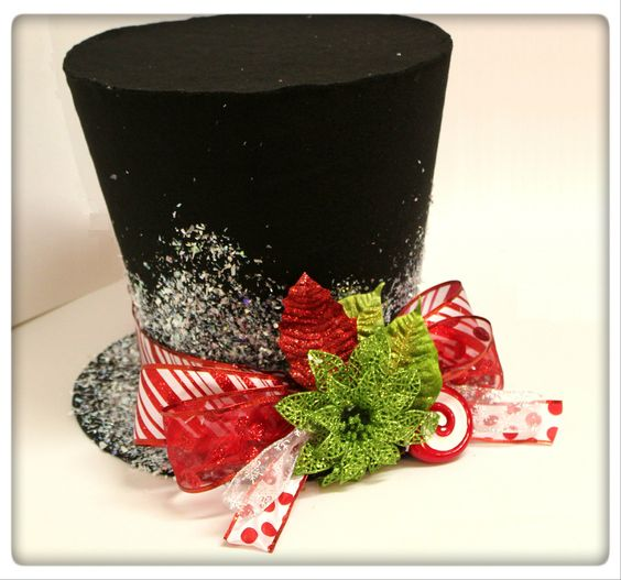 FREE gift with 12 inch Candy cane top hat, Christmas tree topper, Christmas table decoration. $35.00, via Etsy.
