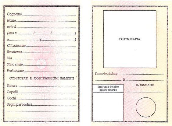 Carta di identità vuota. Materiali (quasi) autentici, presentazione, dati anagrafici, caratteristiche fisiche.