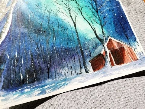 Northern Lights Watercolor Painting Quick Version Youtube