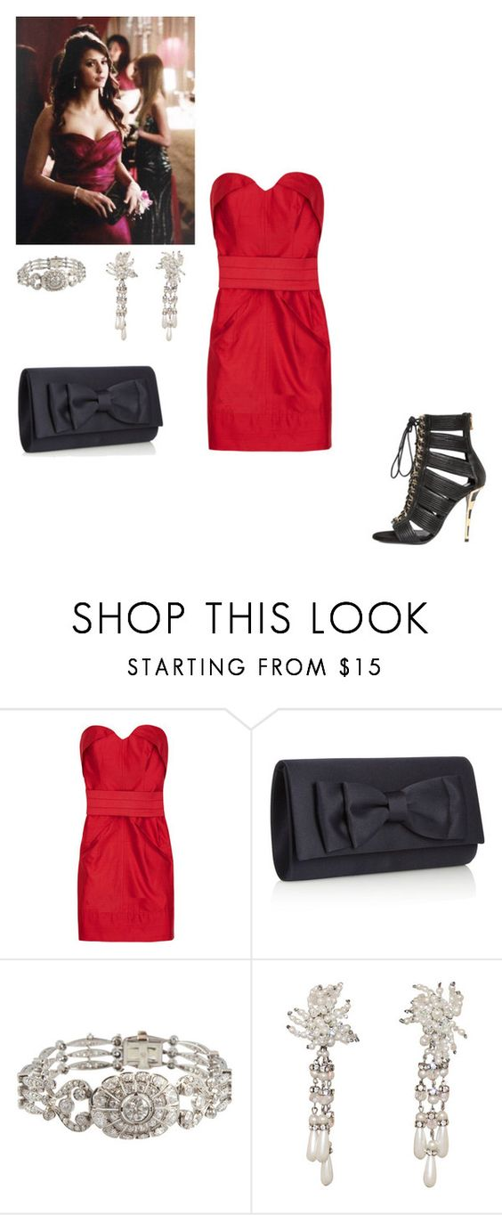 """""""Elena Gilbert-Prom"""" by handfulhannah ❤ liked on Polyvore featuring Camilla and Marc, Debut and Balmain"""