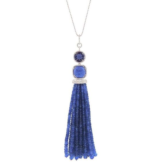 Colin Necklace ($32,200) ❤ liked on Polyvore featuring jewelry, necklaces, blue, bead chain necklace, blue necklace, blue pendant necklace, tassel necklace and white gold necklace