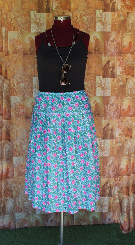 Floral Midi Skirt / Size 18 / Elasticised Waist / Vintage / 90s ...