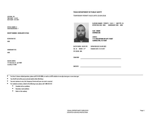 Driver S Permit Texas Temp Drivers Permit Id Card Template
