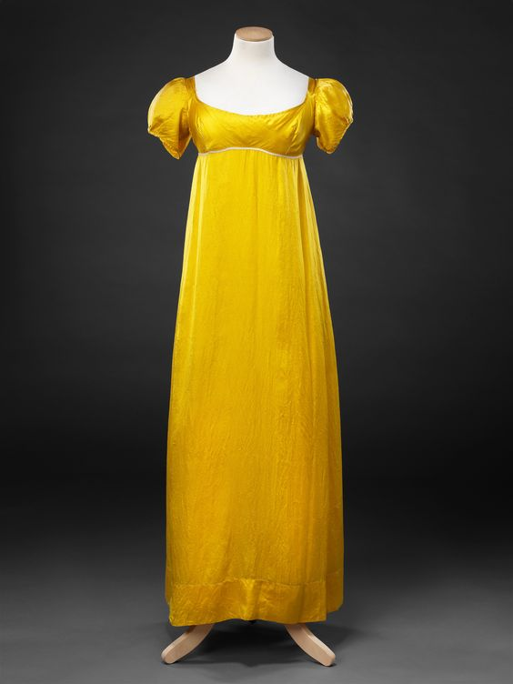 Underdress, c.1810. This simple silk piece would've been worn beneath an overdress made from a sheer fabric, such as patterned organza or embroidered muslin.