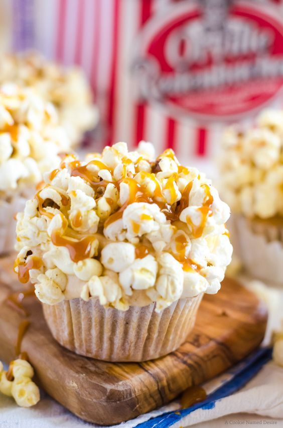 Brown Butter Cupcakes with Caramel Frosting and Popcorn. Perfect for a movie themed birthday party!