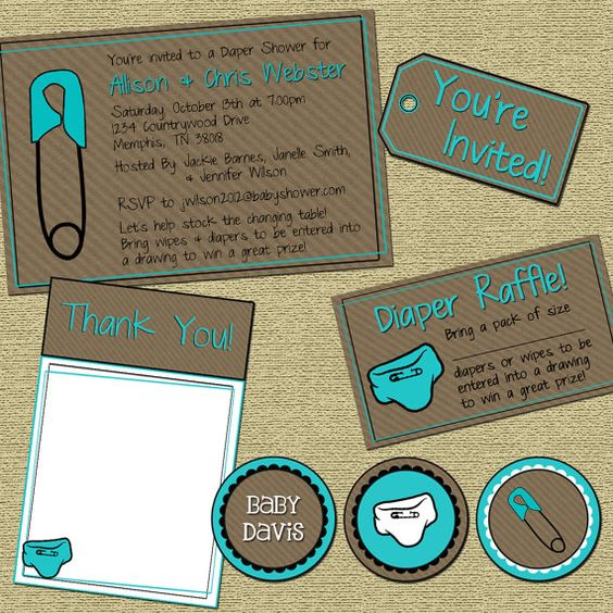 Diaper Raffle Baby Shower Invitation Package by PressPrint2Party, $26.00