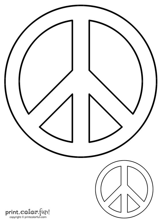 Peace sign Print Color Fun Free printables coloring