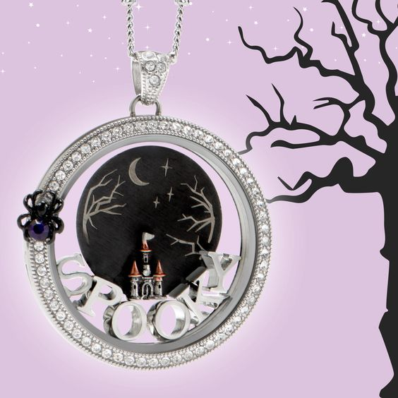 Halloween reveal 2016 Origami Owl Limited Edition charms, purple wrap bracelet, purple stardust, black locket with purple crystals, jack-o-lantern trick or treat bag, spider, spooky plate, boo dangle,