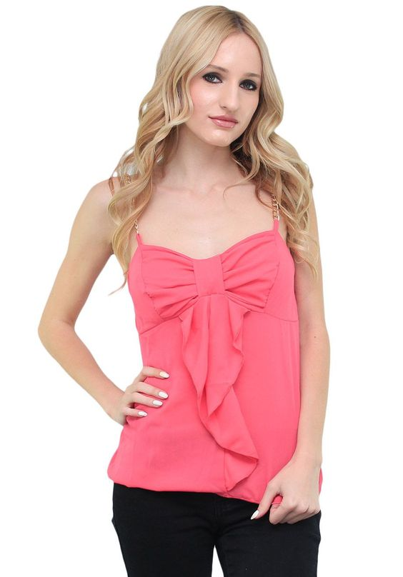 Pink Bow Front Chain Strap Tank #wholesale fashion #wholesale ...
