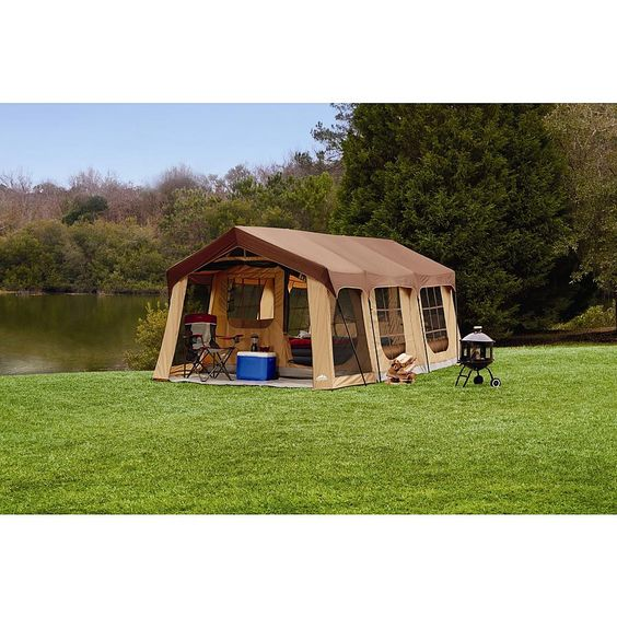 Northwest territory front porch cabin tent 10 person for Permanent tent cabins