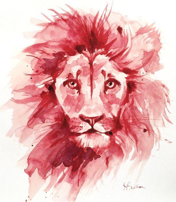 Impresión del arte de León acuarela por AmyBuchanArt en Etsy