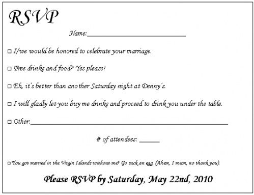 Funny Wedding Rsvp Wording