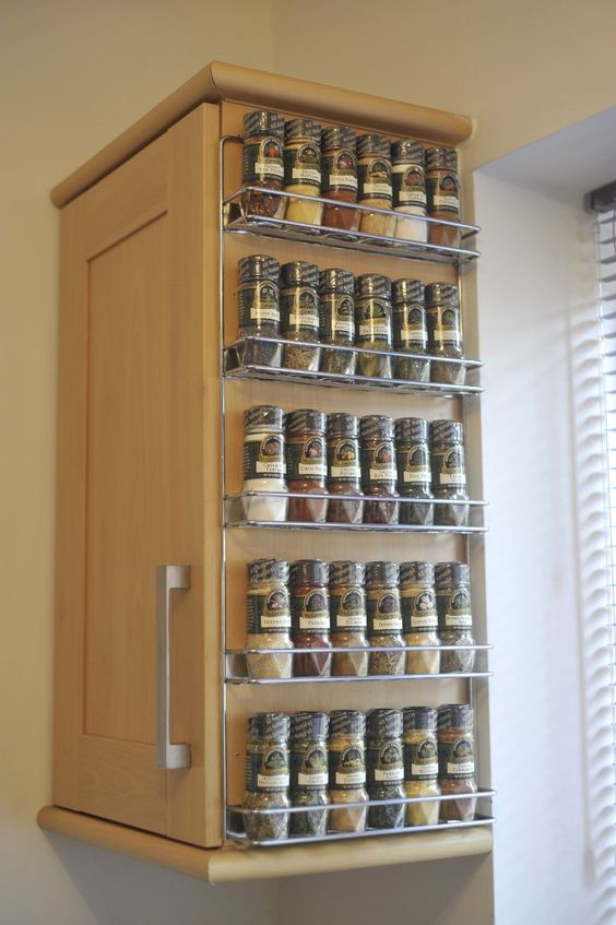 Beside the cabinet wall mounted spice rack with wire materials to made the rack frame also five - Wall mounted spice racks for kitchen ...