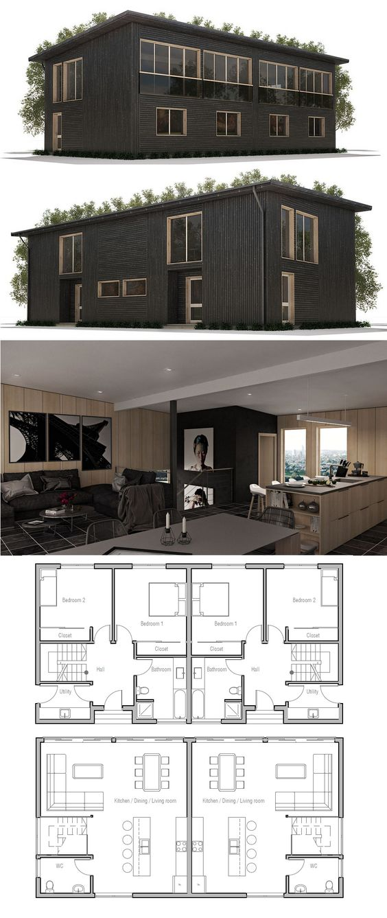 Home house plans and house on pinterest for Plan de maison en duplex