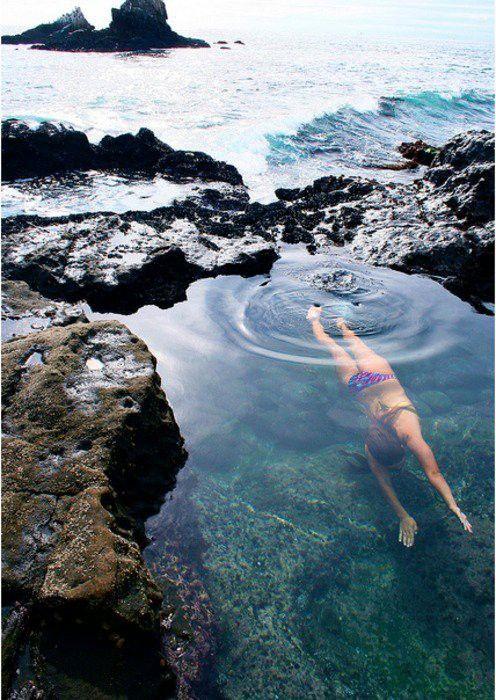 ハワイの透き通った海