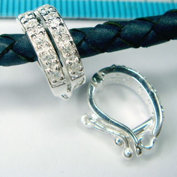 1x STERLING SILVER CZ CHANGEABLE PENDANT CLASP SLIDER CONNECTOR #1230