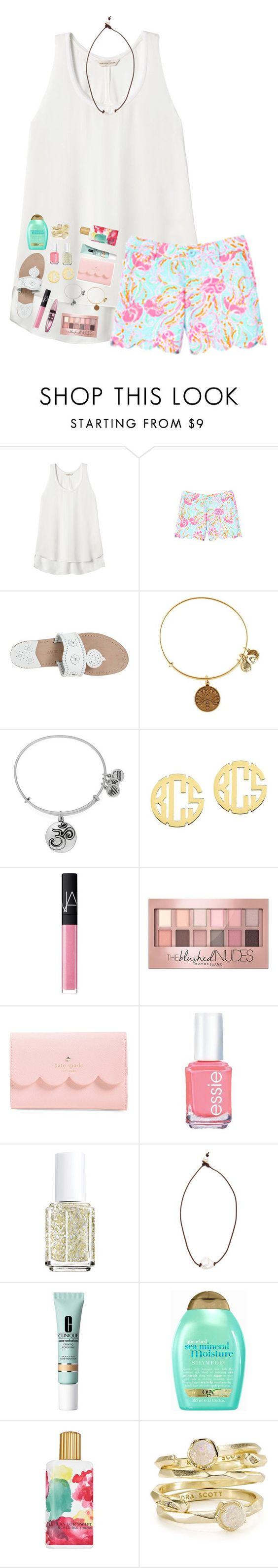"""""""we got to play Hamilton music in PE today🙃"""" by lindsaygreys ❤ liked on Polyvore featuring Rebecca Taylor, Lilly Pulitzer, Jack Rogers, Alex and Ani, QVC, NARS Cosmetics, Maybelline, Kate Spade, Essie and Lead"""