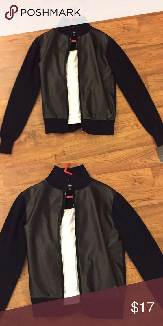 Bomber style jacket. Us women size small Knitted bomber style jacket with front panel coated with pleather like material. Fabrics: polyurethane for front panel. Remainder is 100% polyester with black sleeve 100% cotton. Machine wash cold. New with tags. Target brand mossimo. Mossimo Supply Co Jackets & Coats Utility Jackets