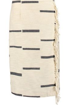 Tory Burch Fringed cotton-blend canvas skirt  | THE OUTNET