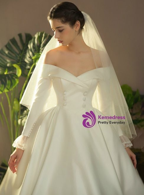 Ivory White Ball Gown Satin Off The Shoulder Long Sleeve Wedding