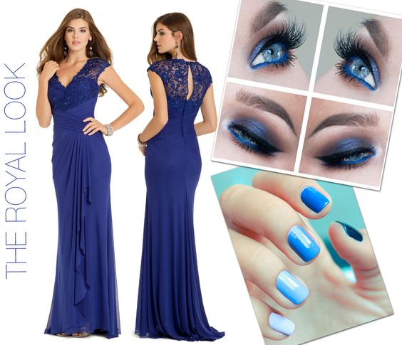 Camille La Vie Homecoming Blue Long Dresses. Also perfect for Prom and Weddings. Blue manicure nails and eyeshadow makeup