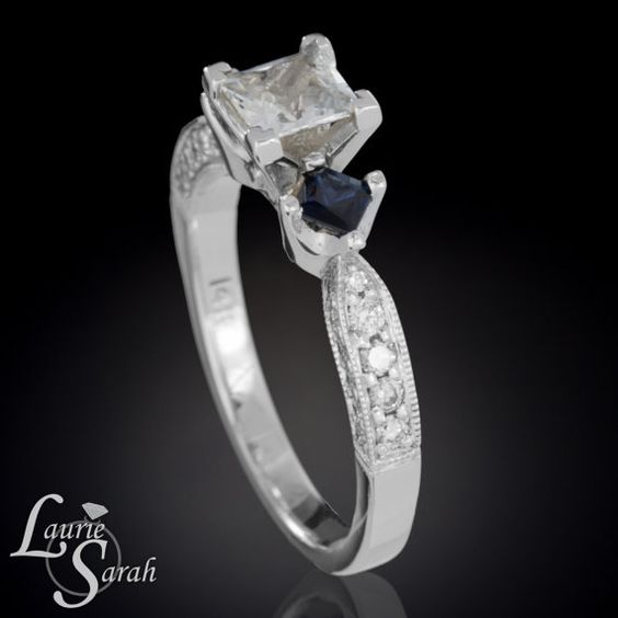 Princess Cut White Sapphire Engagement Ring with Blue Sapphires and Diamonds - LS3375