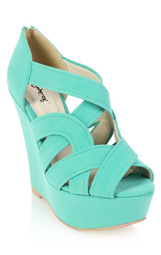 Turquoise summer wedge sandal