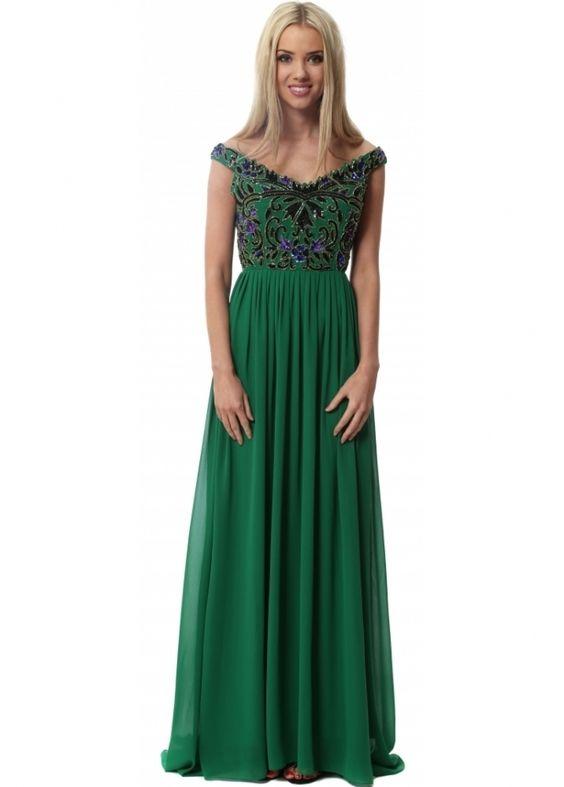 Green off the shoulder maxi dress