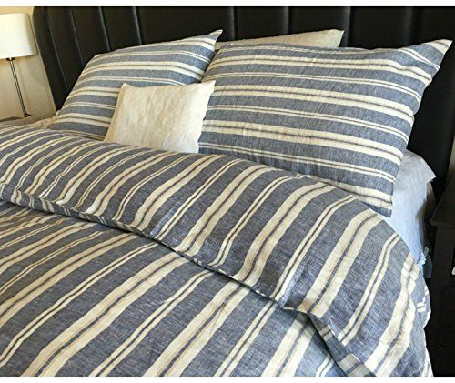 Nautical Striped Duvet Cover Handmade In Natural Linen Available