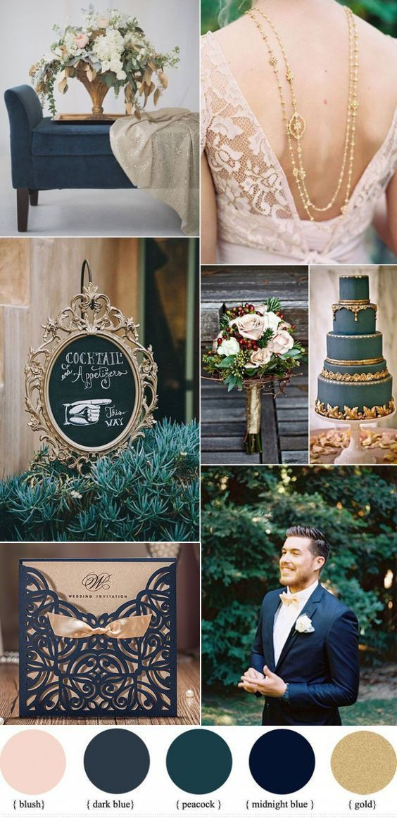 50 Prettiest Spring Wedding Color Inspirations You Must See Vintage Navy Blue And Gold Weddi Wedding Color Schemes Blue Blue Themed Wedding Dark Blue Wedding