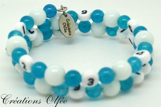 Bracelet d'allaitement OLFÉE  Blanc et turquoise par CreationsOlfee, $20.00