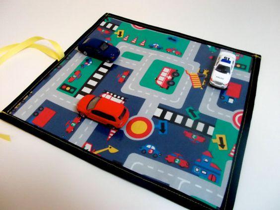 Road Trip Chalk Mat // Street Map Chalk Placemat // Roll Up Play Mat - Black Border