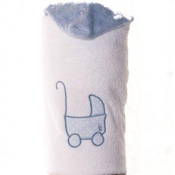 Toalla con capucha para niños blanco con CARRITO DE BEBE bordado azul