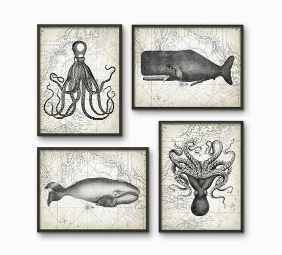 Wale und Octopus Badezimmer Print Set 4 - Badezimmer-Dekor - Meeresbiologie-Kunst - Wal und Octopus Illustration - AB217