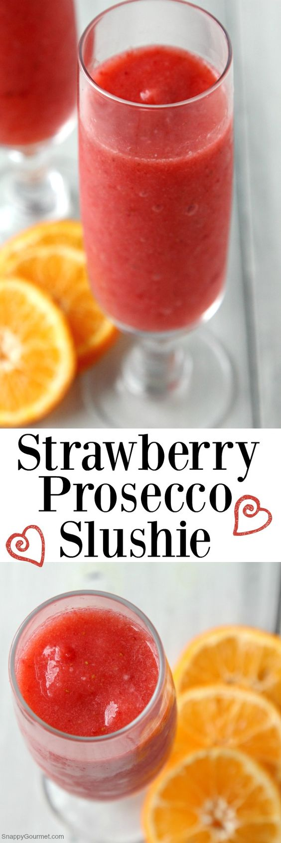 Strawberry Prosecco Slushie recipe, the best easy frozen wine cocktail! SnappyGourmet.com (ad)