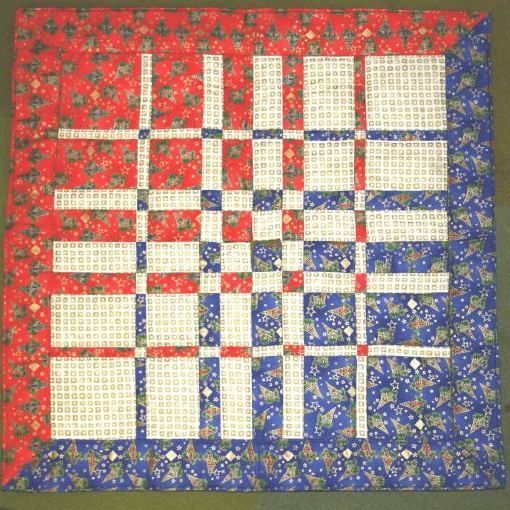 The size of the blocks in the quilt above follow the Fibonacci series, or golden ratio.