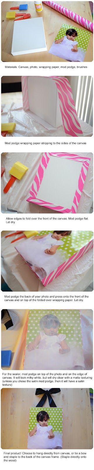 DIY Canvas Photo - Will be trying this!: