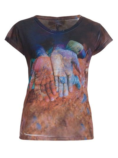 OMA TEES Camiseta Azul E Marrom Estampada.