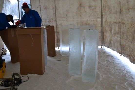 Blocks of ice for the bar