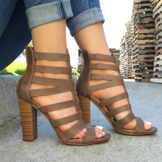 Front Lines Chunky Faux Leather Heels strappy chunky