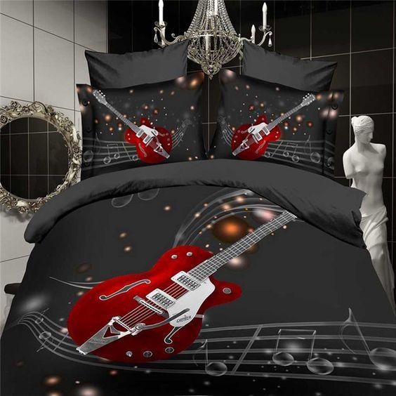 Luxus 3d bettwäschesatz 4 stück schwarz weiß rot Musik gitarre bettlaken bett gesetzt bettdecke bettbezug Königin king-size-tröster leinen ups(China (Mainland))