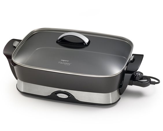"Amazon.com: Presto 06857 16-inch Electric Foldaway Skillet, Black: Home & Kitchen. Considering purchasing either this or the 12-inch. The 16"" is approximately 20x16, while the 12"" is approximately 16x12.5. At present, the 12"" only comes in burgundy at Amazon.com. Your feedback will be much appreciated, fellow pinners. Yes, I mean you!"