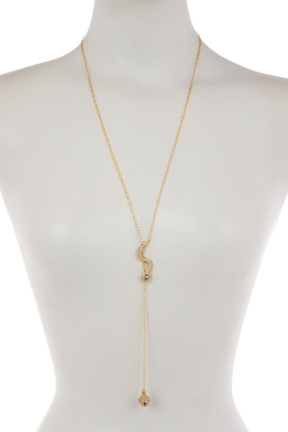 Pave Snake Lariat Necklace by Louise et Cie Jewelry on @nordstrom_rack