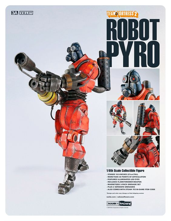 Team Fortress 2 Robot Pyro goes up for pre-order on May 17th 9:00AM Hong Kong time at www.bambalandstore.com   Price for singles: 220USD shipped worldwide and 400USD shipped for the 2-Pack.  LOOKBOOK3A with more photos: http://issuu.com/threea/docs/lookbook3a_issue010_teamfortress2_r   #threeA #VALVe #AshleyWood #TeamFortress #TeamFortress2 #TF2 #gaming #videogames #gamer #toyphotography #collectible #toy #actionfigure #toys4life #toyplanet #toyrevolution #toycommunity #toys #hobby