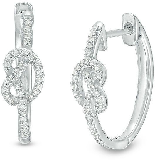 Zales 1/6 CT. T.w. Diamond Knot Hoop Earrings in Sterling Silver Dfckr9ry