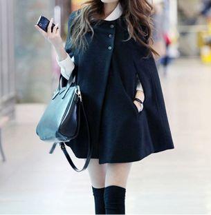 Black Cape Coat #jacket #winter #poncho