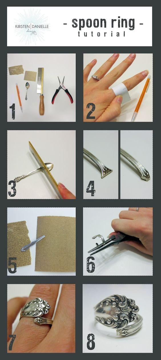 Belle idée! récupérer un ustensile qui a un beau motif et transformez-la en bague.