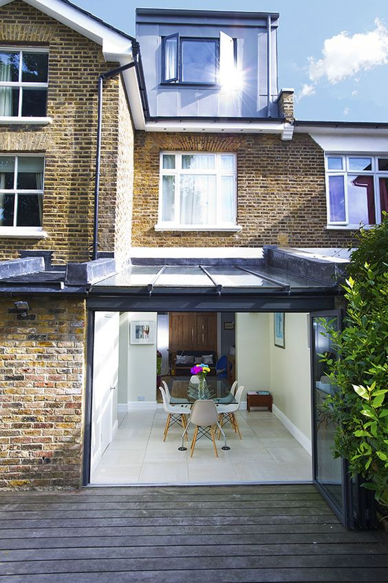 Kitchen extensions side extension and glass roof on pinterest for Kitchen ideas terraced house
