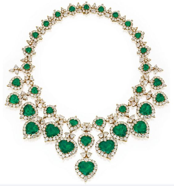 18 Karat Gold, #Emerald and #Diamond Necklace-- 'cause we are living in a material world.