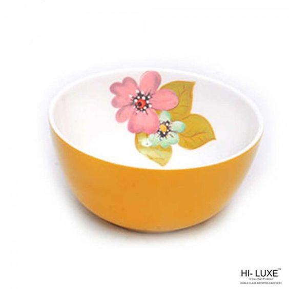 Hi-Luxe Serving Bowls: Buy Hi Luxe Double Clr Serving Bowl 1 Pc, Yellow Online | Oyekitchen.com
